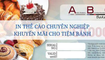 In thẻ cào chuyên nghiệp khuyến mãi cho tiệm bánh